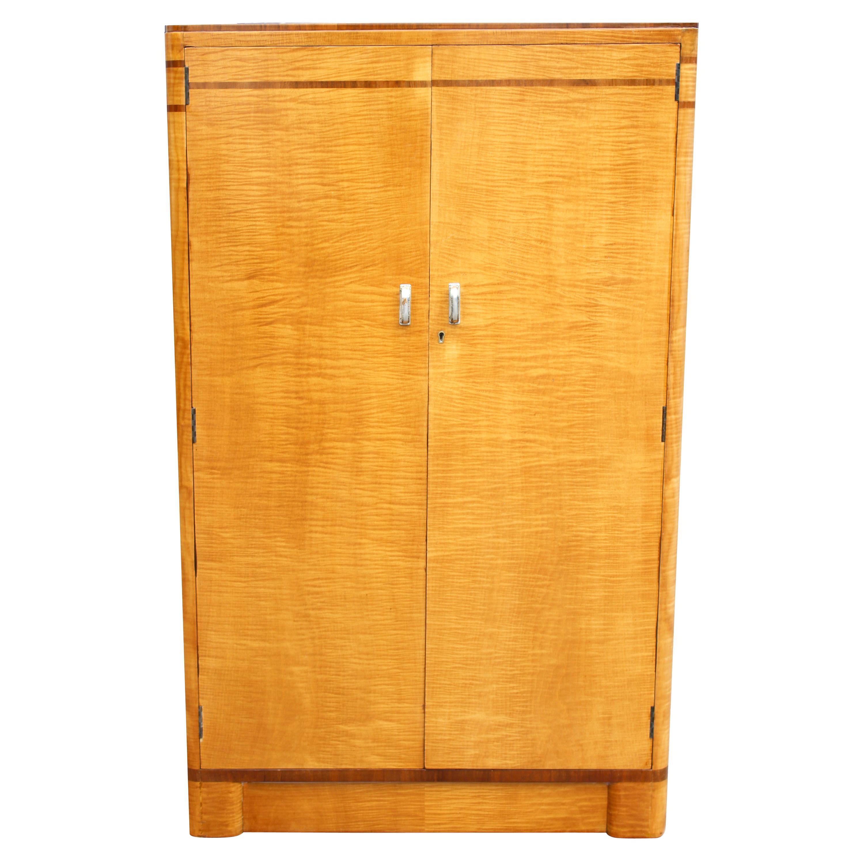Art Deco Blonde Birch & Walnut Wardrobe Tallboy, C1930
