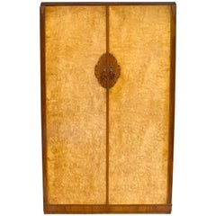Art Deco Blonde Bird's-Eye Maple Double Wardrobe, circa 1930