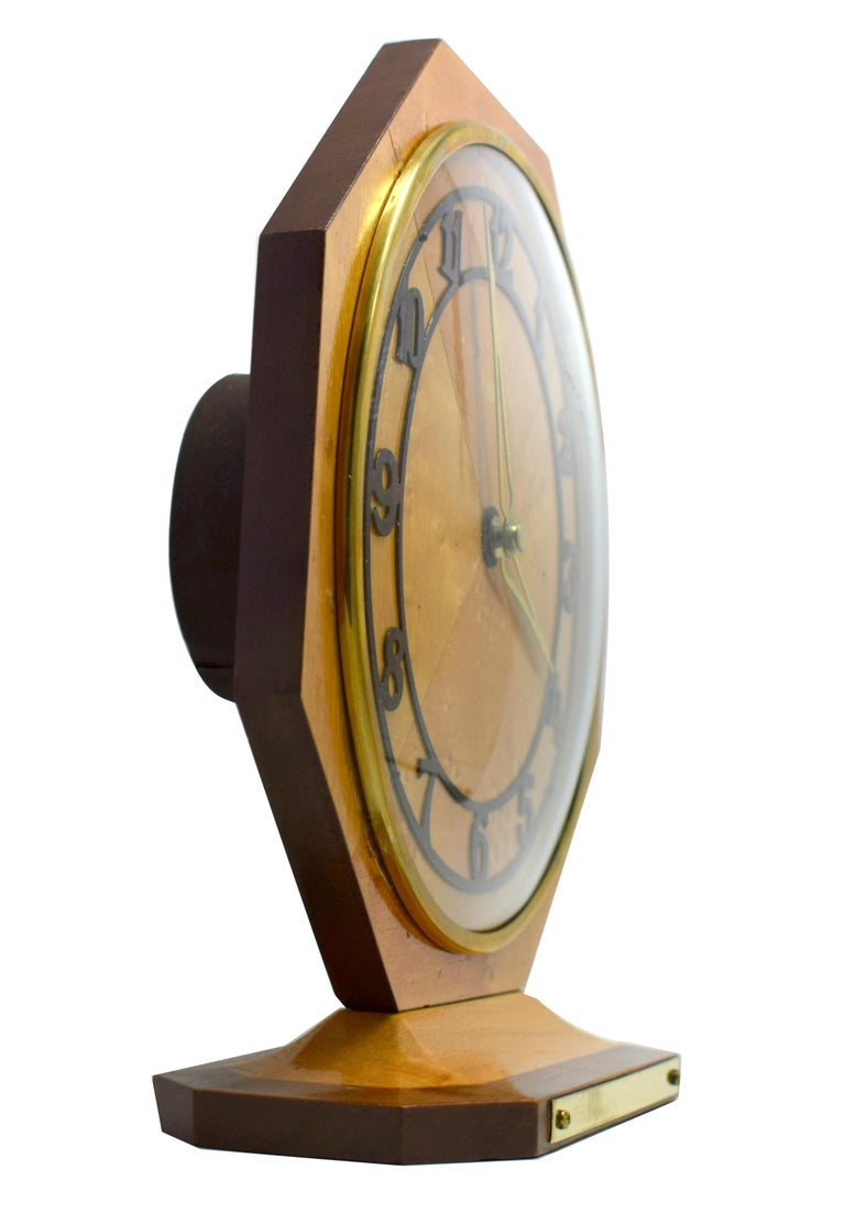 English Art Deco Blonde Maple Mantle Clock, circa 1930s For Sale