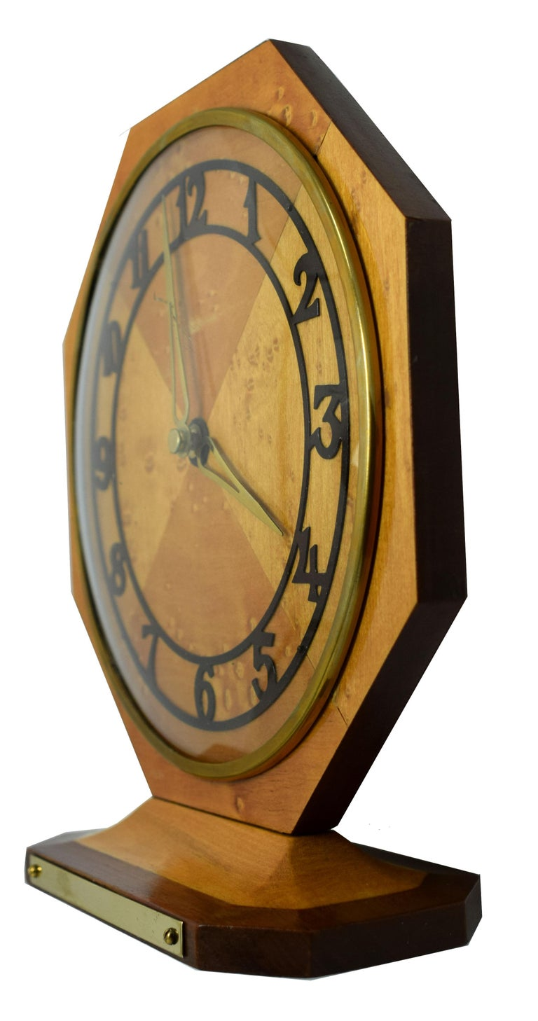 Brass Art Deco Blonde Maple Mantle Clock, circa 1930s For Sale