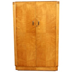 Art Deco Blonde Tiger Grain Birch Double Wardrobe, circa 1930