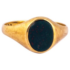 Art Deco Bloodstone and 9 Carat Gold Signet Ring