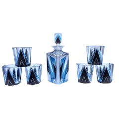 Art Deco Blue and Black Enamel Glass Decanter Set, circa 1930