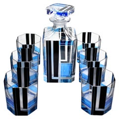 Art Deco Blue and Black enamel Glass Decanter Set