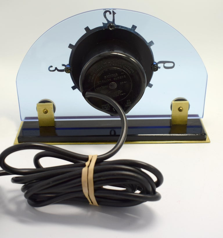 English Art Deco Blue Electric Mantle Clock by Smiths For Sale
