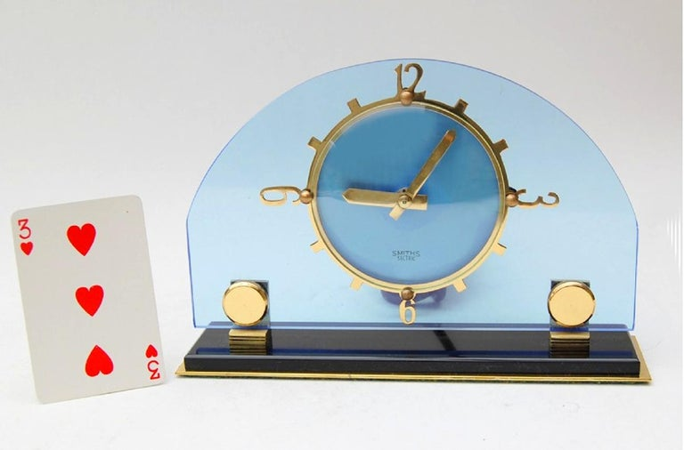 Art Deco Blue Electric Mantle Clock by Smiths In Excellent Condition For Sale In Devon, England