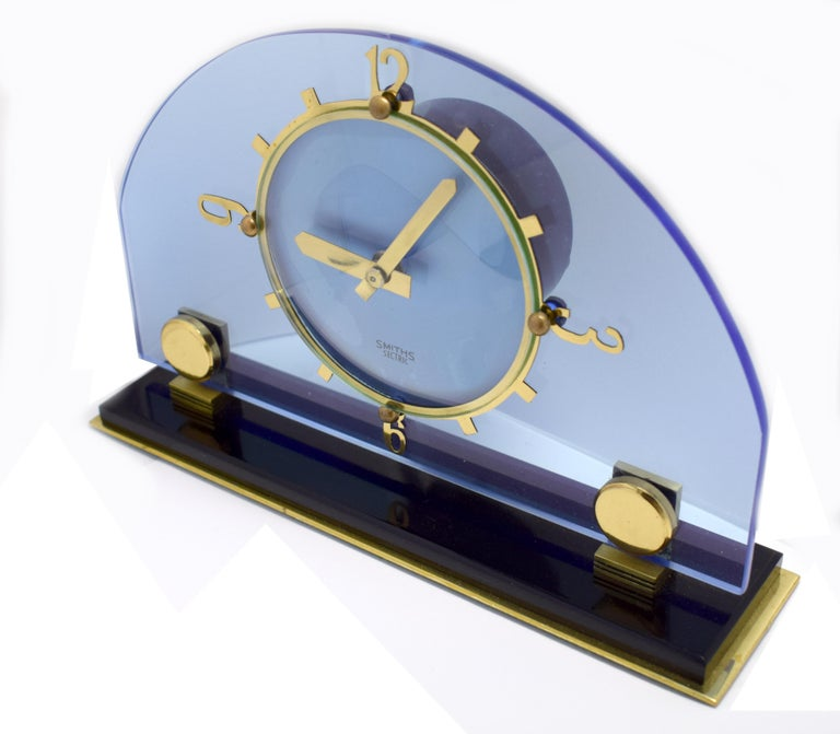 20th Century Art Deco Blue Electric Mantle Clock by Smiths For Sale