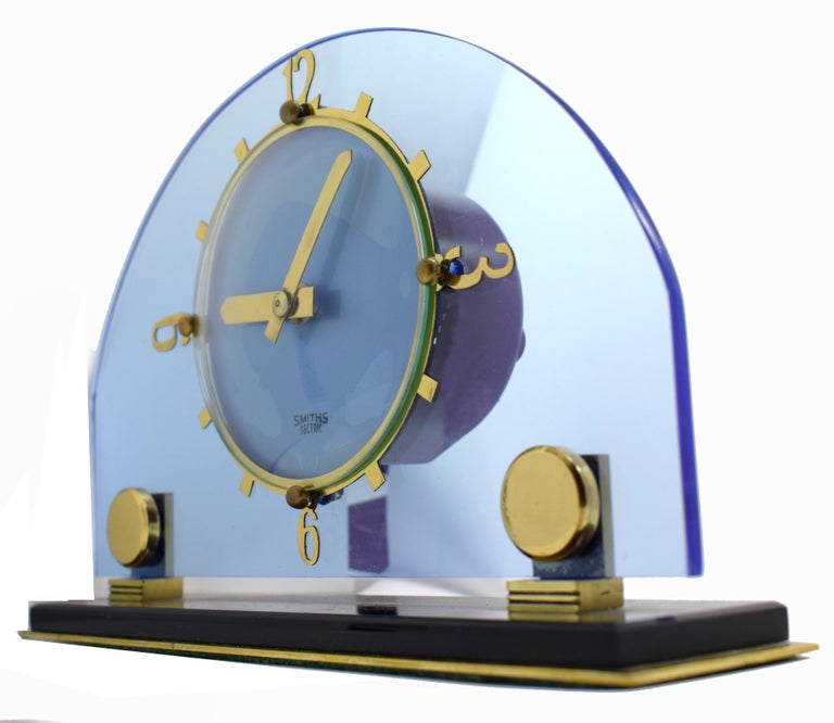 Brass Art Deco Blue Electric Mantle Clock by Smiths For Sale