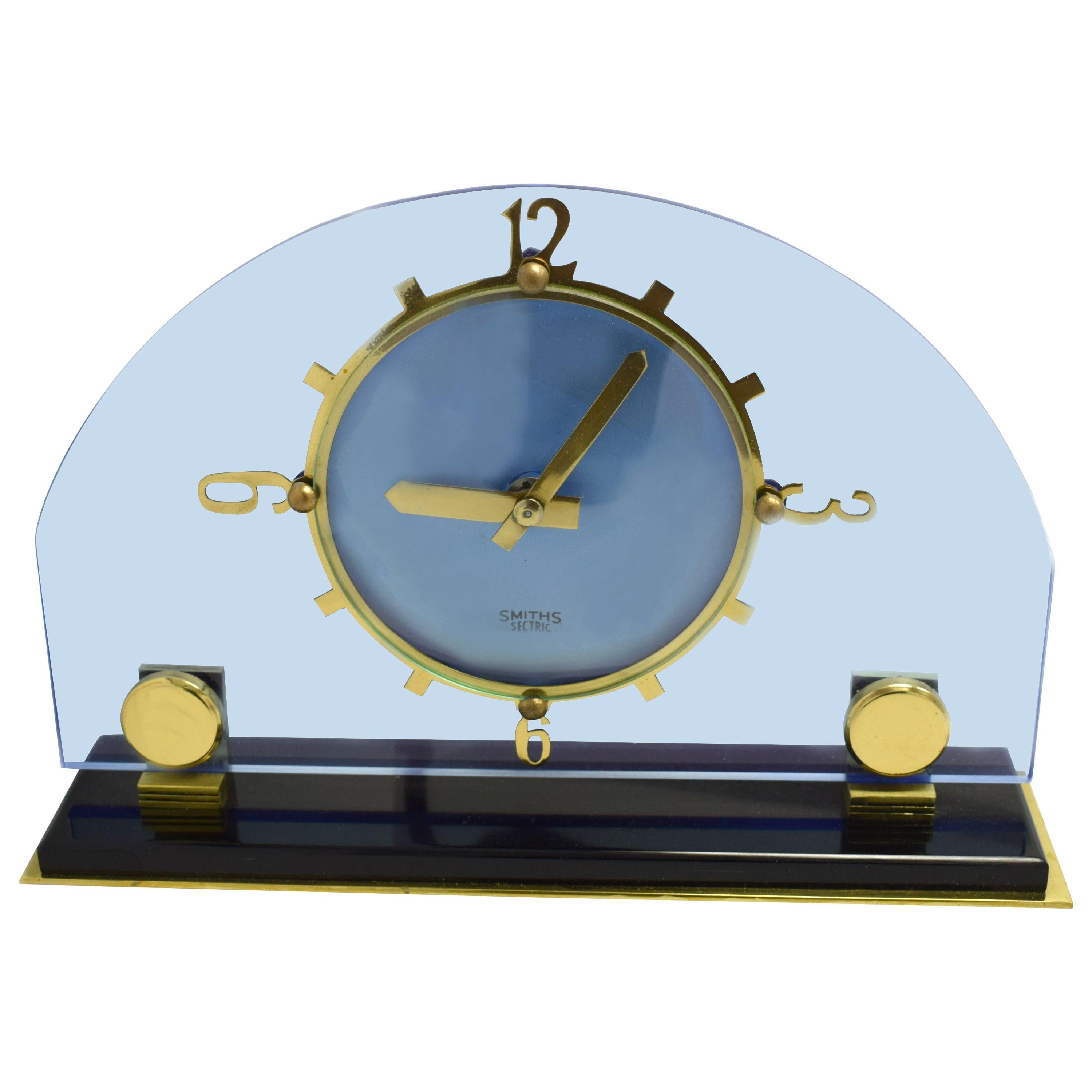 Art Deco Blue Electric Mantle Clock by Smiths