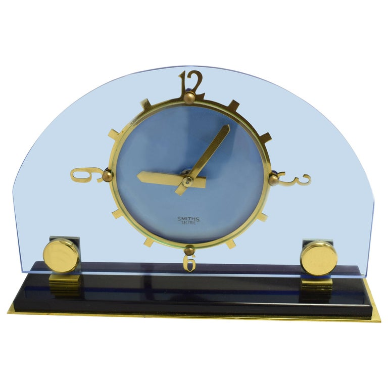Art Deco Blue Electric Mantle Clock by Smiths For Sale