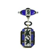 Art Deco Blue Enamel and Diamond 14 Karat Gold Floral Lady Watch Pendant