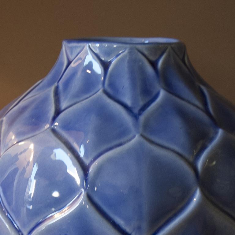 Stunning Art Deco French blue vase in Craquelè, 1930s.
