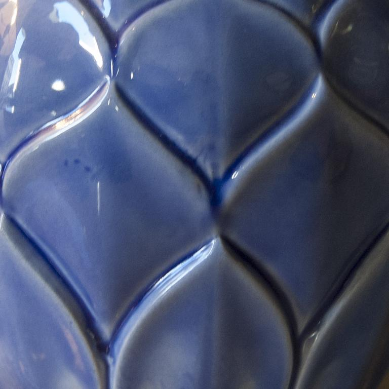Mid-20th Century Art Deco Blue French Vase in Craquelè, 1930s For Sale