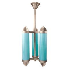 Art Deco Blue Glass and Chrome Pendant Light