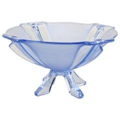 Art Deco Blue Glass Bowl, Austria, circa 1920