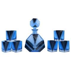 Art Deco Blue Glass Whisky Decanter Set, circa 1930