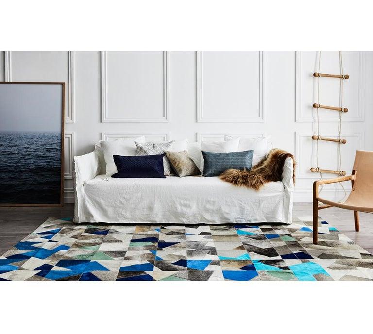 Pakistani Art Deco Blue Gray Faceta Customizable Cowhide Area Floor Rug Large For Sale