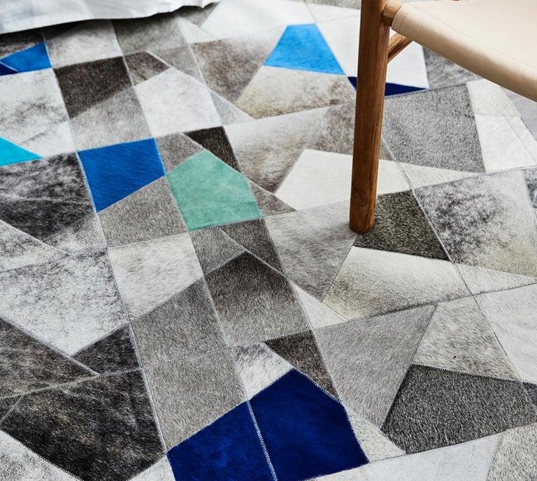 Machine-Made Art Deco Blue Gray Faceta Customizable Cowhide Area Floor Rug Large For Sale