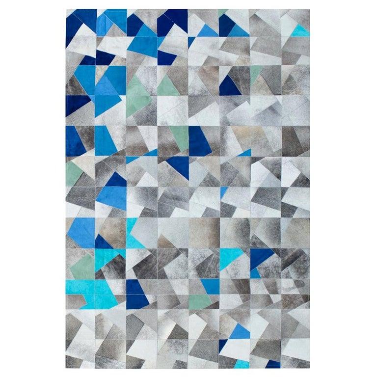 Art Deco Blue Gray Faceta Customizable Cowhide Area Floor Rug Large For Sale