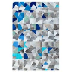 Art Deco Blue Gray Faceta Customizable Cowhide Area Floor Rug X-Large