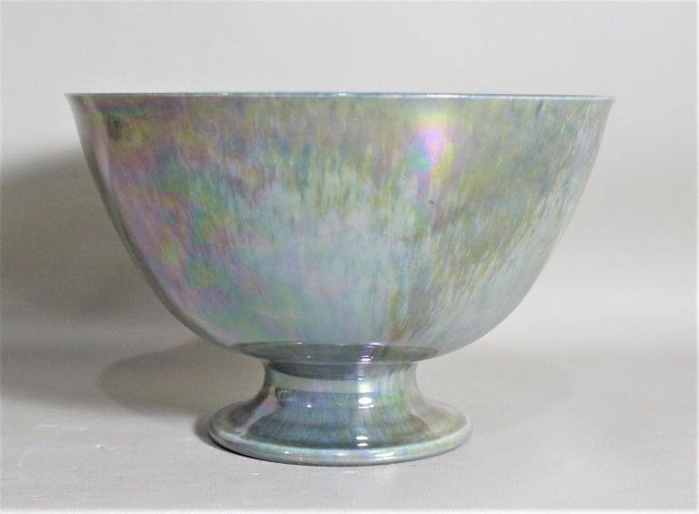 English Art Deco Blue Iridescent Ruskin Pottery Pedestal Bowl For Sale