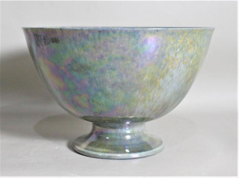 Glazed Art Deco Blue Iridescent Ruskin Pottery Pedestal Bowl For Sale