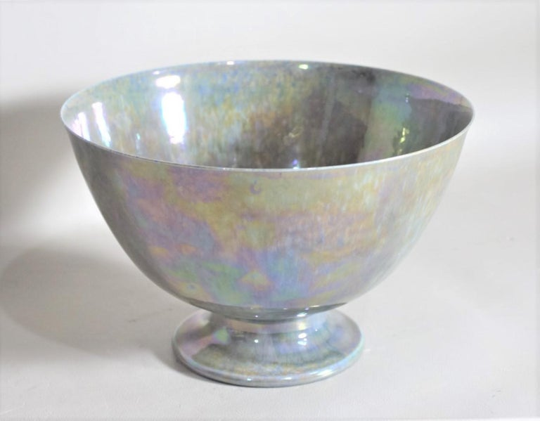 Art Deco Blue Iridescent Ruskin Pottery Pedestal Bowl In Good Condition For Sale In Hamilton, Ontario