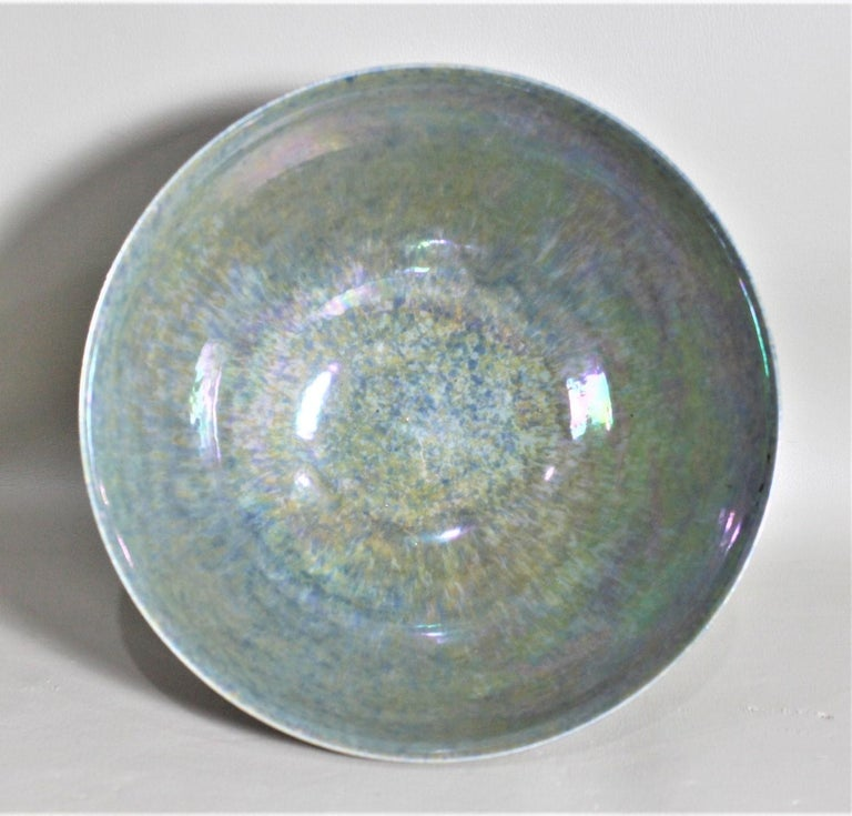 20th Century Art Deco Blue Iridescent Ruskin Pottery Pedestal Bowl For Sale