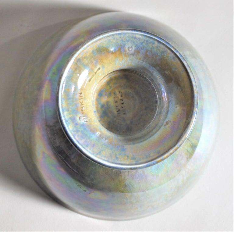 Art Deco Blue Iridescent Ruskin Pottery Pedestal Bowl For Sale 1