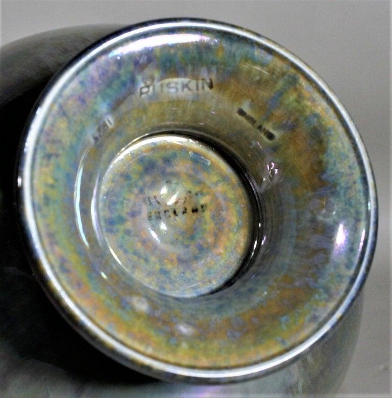 Art Deco Blue Iridescent Ruskin Pottery Pedestal Bowl For Sale 2