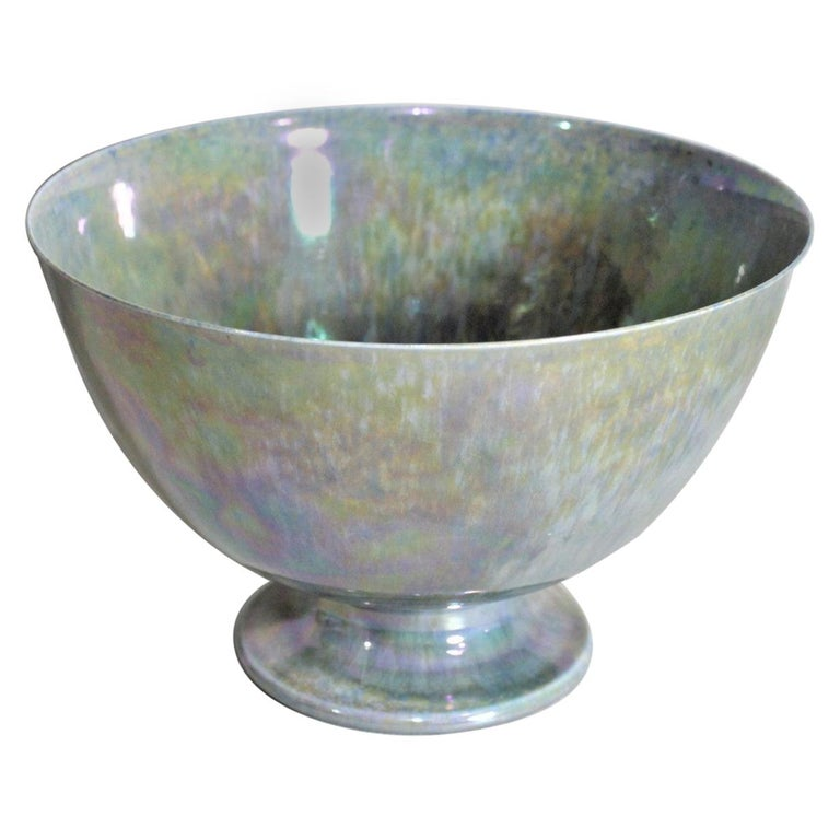 Art Deco Blue Iridescent Ruskin Pottery Pedestal Bowl For Sale