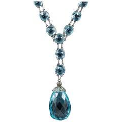 Art Deco Blue Paste Stone Dropper Necklace Silver, circa 1920