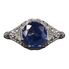 Art Deco Style Blue Sapphire 2.38 Carat White Gold Ring