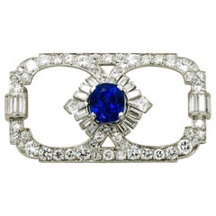 Art Deco Blue Sapphire and Diamond Platinum Brooch