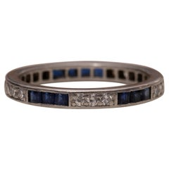 Art Deco Blue Sapphire and Diamond Platinum Eternity Band Wedding Stackable Ring