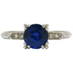 Art Deco Blue Sapphire Antique Engagement Ring Gemstone Solitaire Kashmir Color