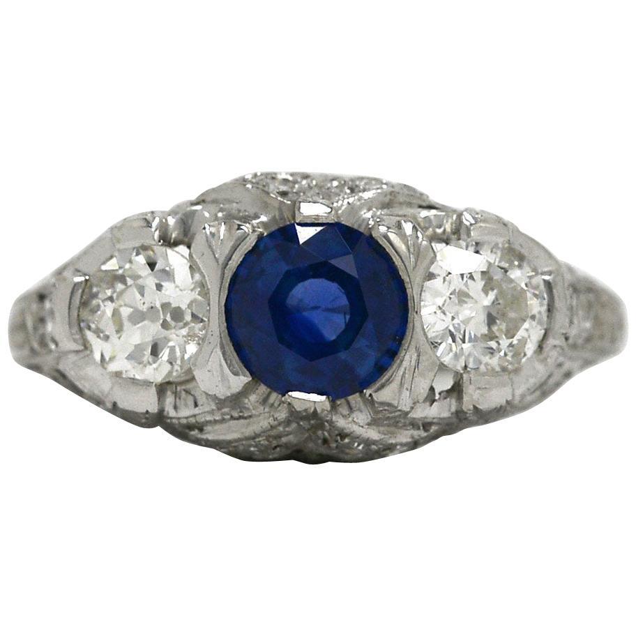 Art Deco Blue Sapphire Diamond Antique Platinum 3-Stone Trinity Engagement Ring