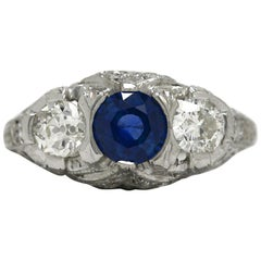 Art Deco Blue Sapphire Diamond Antique Platinum 3-Stone Trinity Engagement Ring