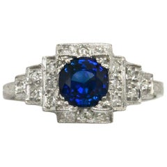 Art Deco Blue Sapphire Diamond Gem Engagement Ring Antique Low Setting Staircase
