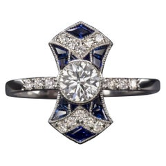 Art Deco Blue Sapphire Diamond Gold Ring