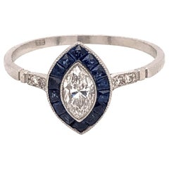 Blue Sapphire Diamond Halo Platinum Engagement Ring Estate Fine Jewelry