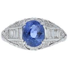 Art Deco Style Blue Sapphire and Diamond Ring