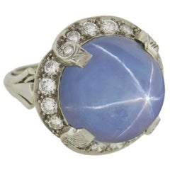 Art Deco Blue Sapphire Star Ring from Late 1930s 18 Karat White Gold