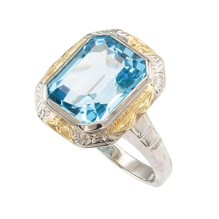 Emerald Cut Art Deco Blue Topaz Two-Tone Gold Ring For Sale