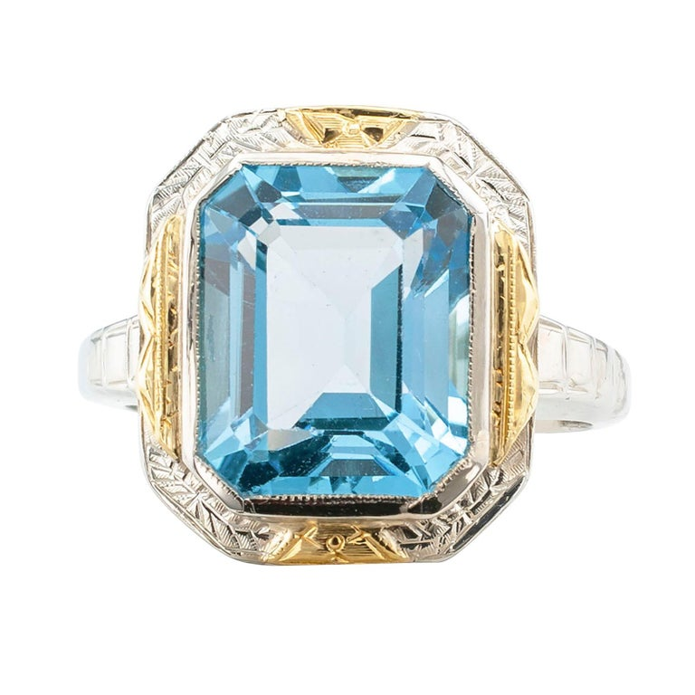 Women's Art Deco Blue Topaz Two-Tone Gold Ring For Sale