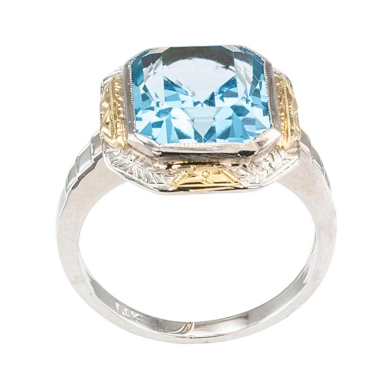 Art Deco Blue Topaz Two-Tone Gold Ring For Sale 1
