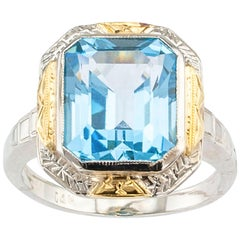 Art Deco Blue Topaz Two-Tone Gold Ring