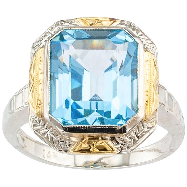 Art Deco Blue Topaz Two-Tone Gold Ring For Sale