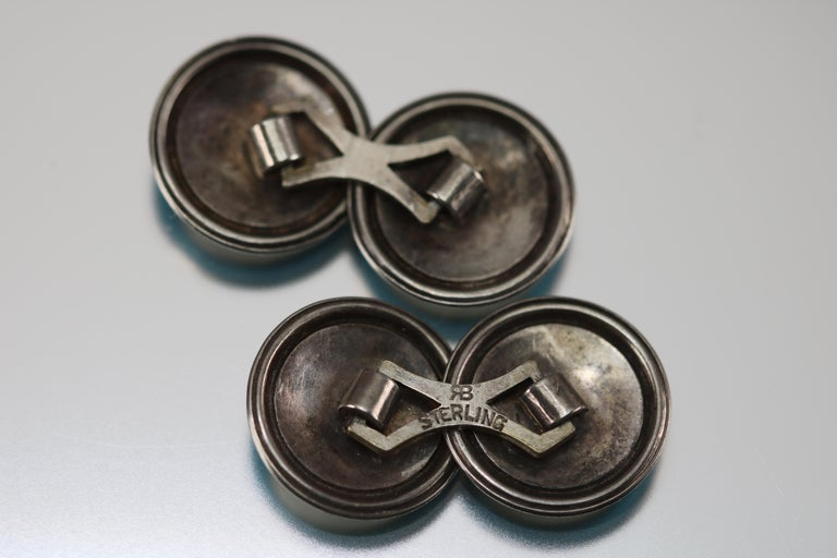 Art Deco Blue Enamel Cufflinks Sterling Silver, circa 1920 . Each round 15mm enameled cufflink is joined by hallmarked sterling spacer with the backward R forward B stamped in it. A great looking pair of cufflinks for men or women.