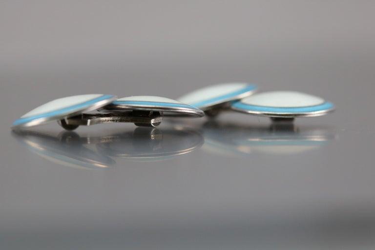 Art Deco Blue/White Enamel Cufflinks Sterling Silver, circa 1920 For Sale 4